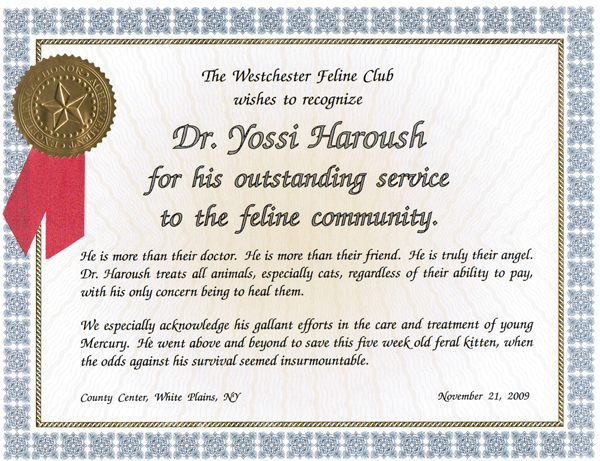 Award from Westchester Feline Club